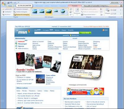 La home page di MSN il 29.11.2007
